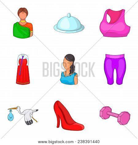Ladylike Icons Set. Cartoon Set Of 9 Ladylike Vector Icons For Web Isolated On White Background