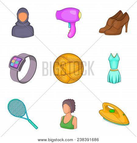 Effeminate Icons Set. Cartoon Set Of 9 Effeminate Vector Icons For Web Isolated On White Background
