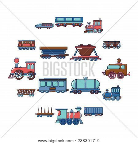 Railway Carriage Icons Set. Cartoon Illustration Of 16 Railway Carriage Vector Icons For Web