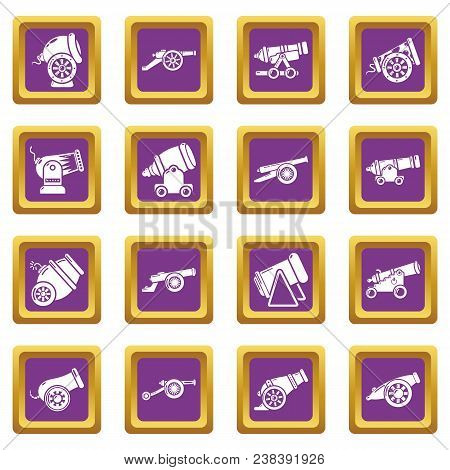 Cannon Retro Icons Set Vector Purple Square Isolated On White Background