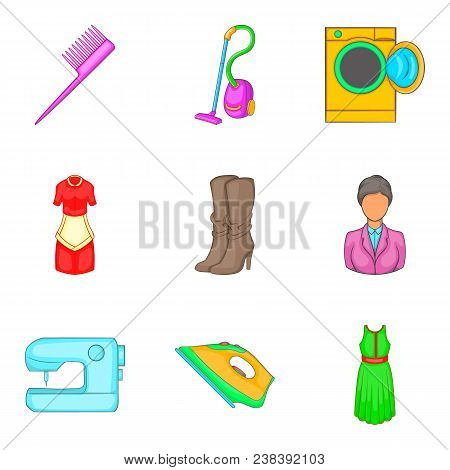 Androgynous Icons Set. Cartoon Set Of 9 Androgynous Vector Icons For Web Isolated On White Backgroun