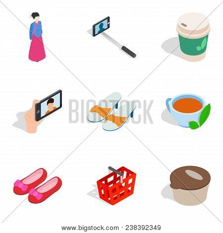 Women Shop Icons Set. Isometric Set Of 9 Women Shop Vector Icons For Web Isolated On White Backgroun