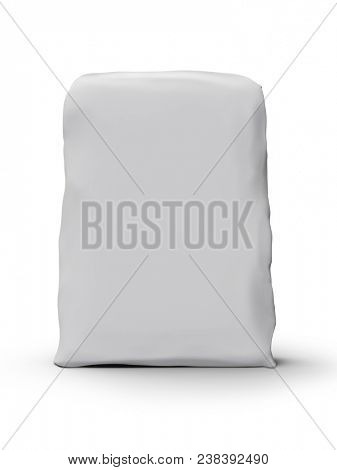 Blank White Dry Mortar Mixing Package Isolated on White Background. Construction Dry Mix Mortar Paper Bag. Front View. 3D Illustration.