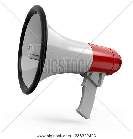 Red and White Megaphone Isolated on White Background. Portable Bullhorn Render. 3D Illustration.