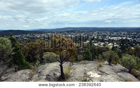 Broad Panorama Of Stanthorpe And The Countryside Of South Queensland. View From Mount Marlay Lookout