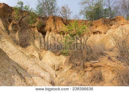 Phae Muang Phi Forest Park, sandstone erosion in Phrae province, Thailand poster