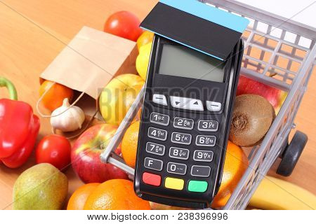 Payment Terminal, Credit Card Reader With Contactless Credit Card, Fresh Fruits And Vegetables With