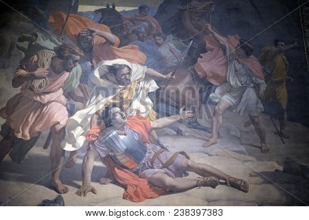 PARIS, FRANCE - JANUARY 04: The Conversion of St. Paul, Mural Painting by Michel-Martin Drolling in the Saint Sulpice Church, Paris, France on January 04, 2018.