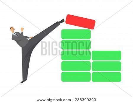 High Kick Businessman. Man In Business Suit Kicking Red Block Out From The The Greeen Blocks Pile. K