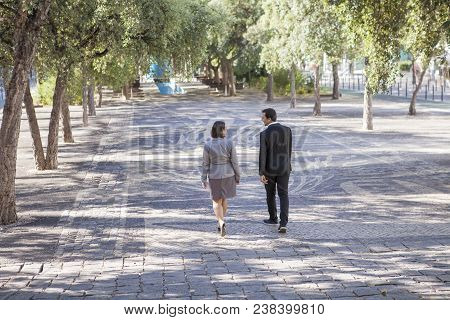 Rear View Of Business People In Formalwear Walking Over Street Path And Talking. Modern Colleagues M