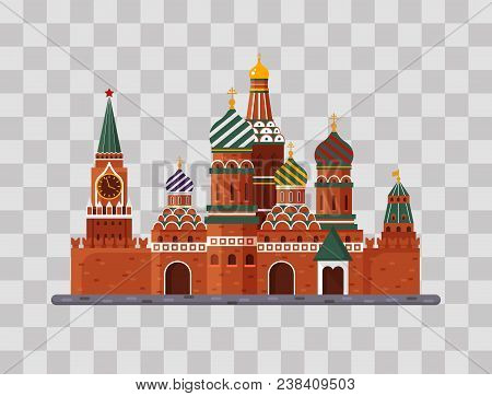 Welcome To Russia. St. Basil S Cathedral On Red Square. Kremlin Palace On Transparent Background - V