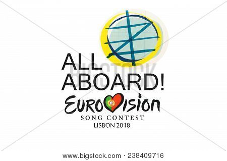 Lisbon, April 29, 2018: Illustration On White Background Eurovision Song Contest 2018 Lisbon.