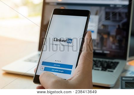 Chiang Mai, Thailand - Mar 28, 2018: Huawei P10 With Linkedin Application On The Screen. Linkedin Is