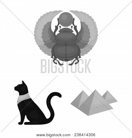 Ancient Egypt Monochrome Icons In Set Collection For Design. The Reign Of Pharaoh Vector Symbol Stoc