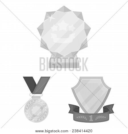 Awards And Trophies Monochrome Icons In Set Collection For Design.reward And Achievement Vector Symb