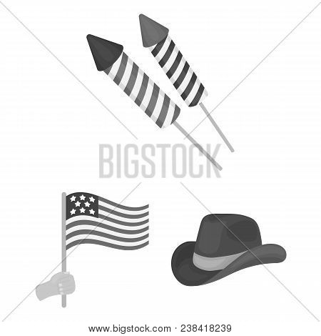 Day Of Patriot, Holiday Monochrome Icons In Set Collection For Design. American Tradition Vector Sym