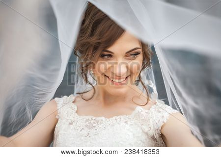 Portrait Of Beautiful, Young Smiling Bride With White Veil Over Her Face. Concept Of Young Gorgeous