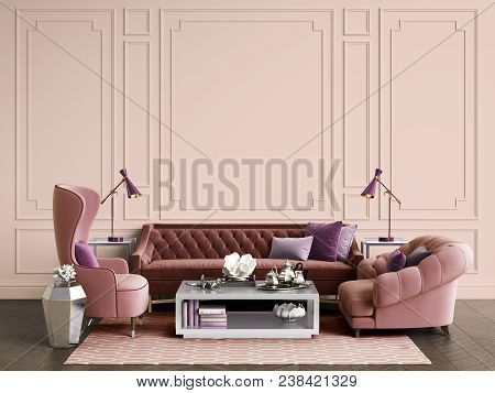 Classic Interior Room With Copy Space.sofa And Armchairs,sidetables With Lamps,table With Decor. Int