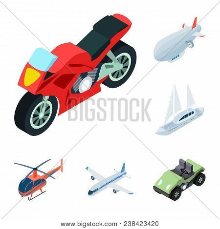 Different Types Of Transport Cartoon Icons In Set Collection For Design. Car And Ship Isometric Vect