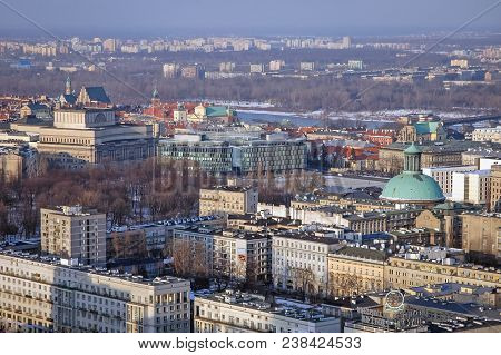 Warsaw, Poland - February 28, 2006: Aerial View In Warsaw, Capital Of Poland, Withe Great Theatre Na