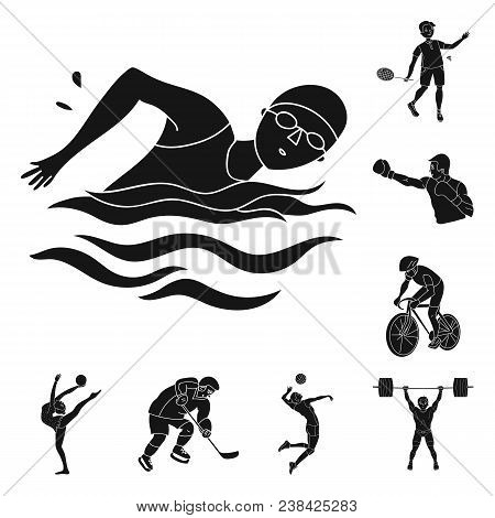 Different Kinds Of Sports Black Icons In Set Collection For Design. Athlete, Competitions Vector Sym