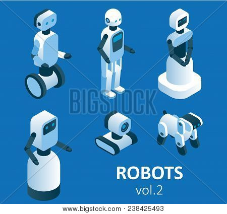 Isometric Modern Robotics Icon Set. Vector Isolated Illustration. Household, Service, Industrial And