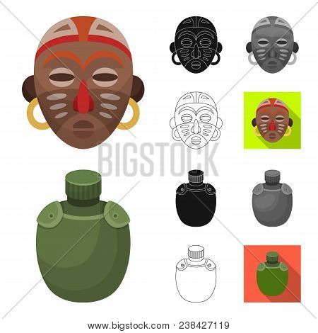 African Safari Cartoon, Black, Flat, Monochrome, Outline Icons In Set Collection For Design. Trophie
