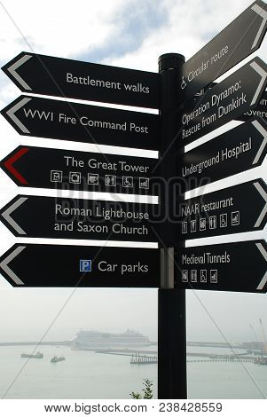 Information Signs At Dover Castle, Kent, England. Dover Castle Is A Medieval Castle In Dover And Was
