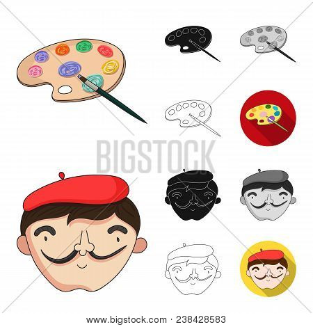 Painter And Drawing Cartoon, Black, Flat, Monochrome, Outline Icons In Set Collection For Design. Ar