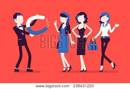 Male Super Magnetism. Exciting And Appealing Young Man With Magnet, Metaphor Of Personal Ability To