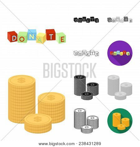 Charity And Donation Cartoon, Black, Flat, Monochrome, Outline Icons In Set Collection For Design. M