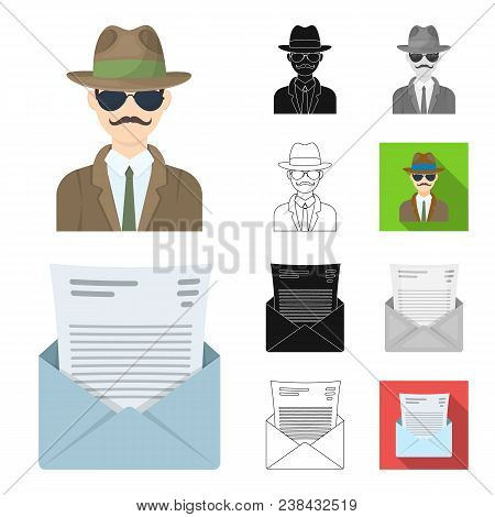 Detective And Attributes Cartoon, Black, Flat, Monochrome, Outline Icons In Set Collection For Desig