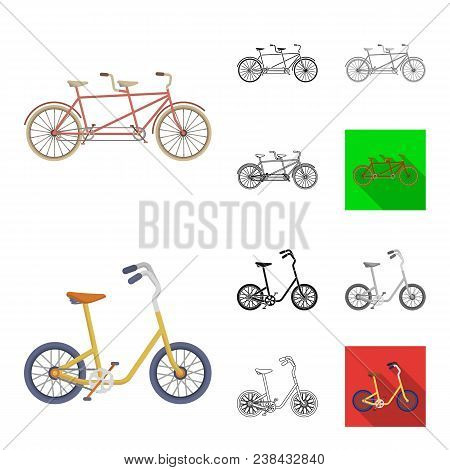 Various Bicycles Cartoon, Black, Flat, Monochrome, Outline Icons In Set Collection For Design. The T