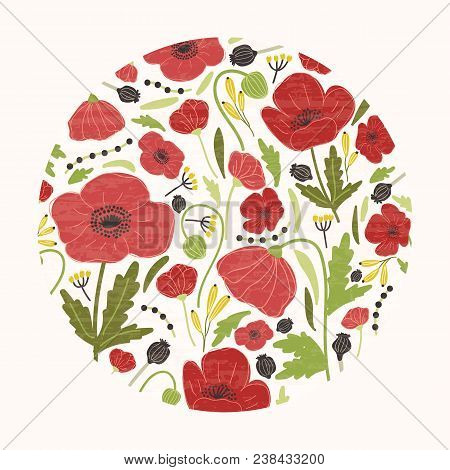 Circular Natural Decorative Design Element, Backdrop Or Decoration Consisted Of Gorgeous Red Bloomin