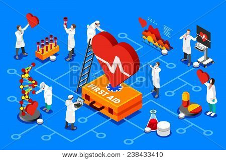 Diagnostic First Aid Heart Medical Service, Isolated Illustration. First Aid Illustration For Web Ba