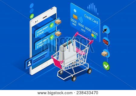 Cart And Shopping Interface On User Phone, Isometric Concept. Shopping Illustration For Web Banner,