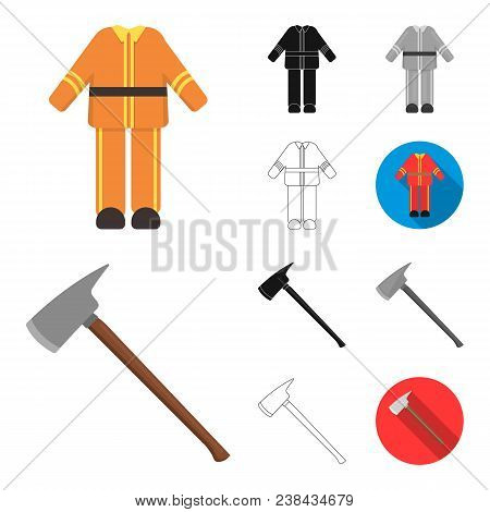 Fire Department Cartoon, Black, Flat, Monochrome, Outline Icons In Set Collection For Design. Firefi