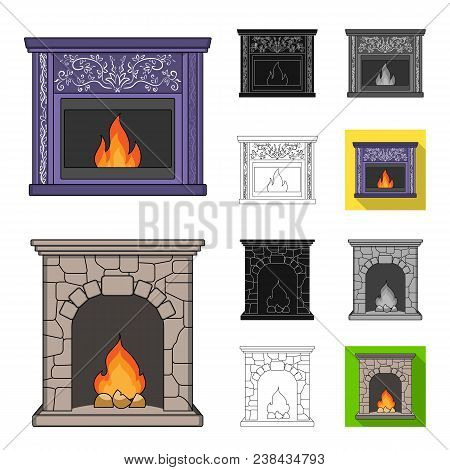 Different Kinds Of Fireplaces Cartoon, Black, Flat, Monochrome, Outline Icons In Set Collection For