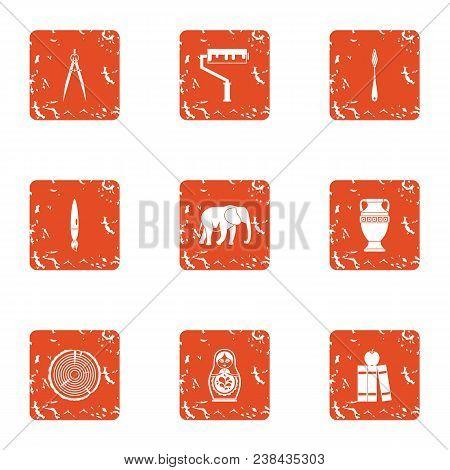 Coating Icons Set. Grunge Set Of 9 Coating Vector Icons For Web Isolated On White Background