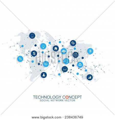 Internet Of Things Iot And Network Connection Concept Design Vector. Smart Digital Concept.