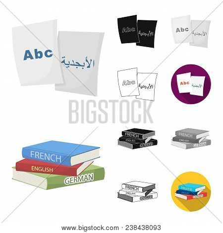 Translator And Linguist Cartoon, Black, Flat, Monochrome, Outline Icons In Set Collection For Design