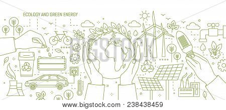 Monochrome Banner With Hands Holding Earth And Light Bulb Surrounded By Wind And Solar Power Station