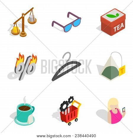 Business Dame Icons Set. Isometric Set Of 9 Business Dame Vector Icons For Web Isolated On White Bac