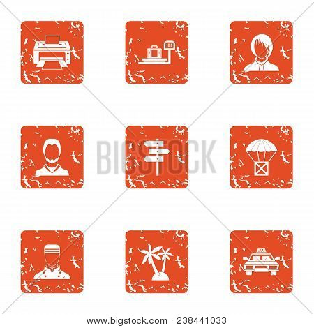 Tropical Countryside Icons Set. Grunge Set Of 9 Tropical Countryside Vector Icons For Web Isolated O