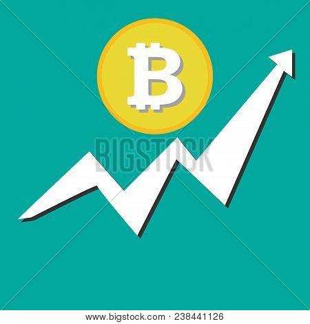 Bitcoin Financial Growth Graph. Financial Growth Concept With Bitcoin. Vector Bitcoin Growth Graph O