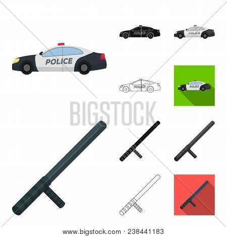 Police, Department Cartoon, Black, Flat, Monochrome, Outline Icons In Set Collection For Design.dete