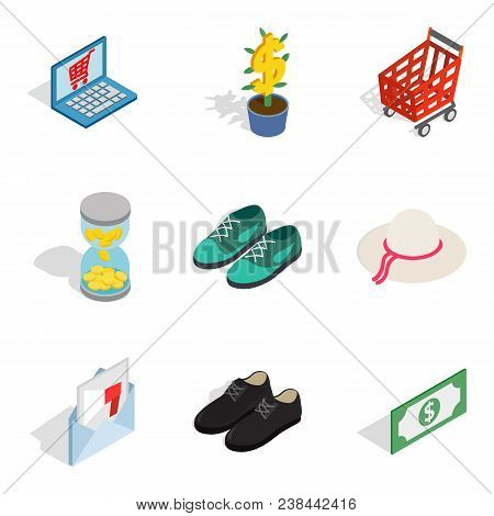 Femme Fatale Icons Set. Isometric Set Of 9 Femme Fatale Vector Icons For Web Isolated On White Backg
