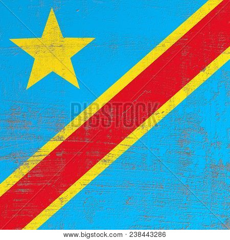 3d Rendering Of Democratic Republic Of Congo Flag In A Scratched Surface