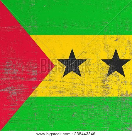 3d Rendering Of Democratic Republic Of Sao Tome And Principe Flag In A Scratched Surface