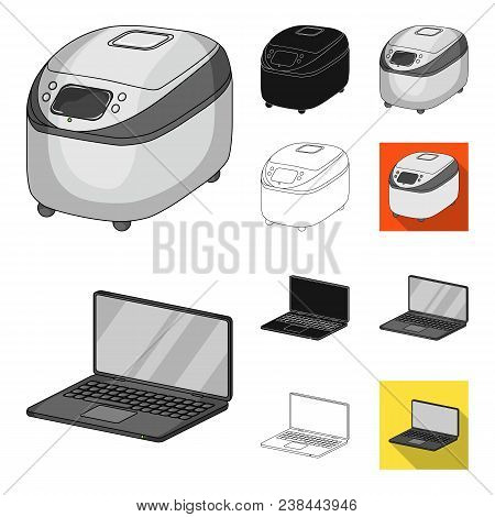 Smart Home Appliances Cartoon, Black, Flat, Monochrome, Outline Icons In Set Collection For Design.